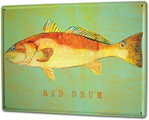 LEotiE SINCE 2004 Tin Sign Metal Plate Decorative Sign Home Decor Plaques Pisces Angel Fish red Drummer Fisherman's House Wall Vintage Decoration 8X12
