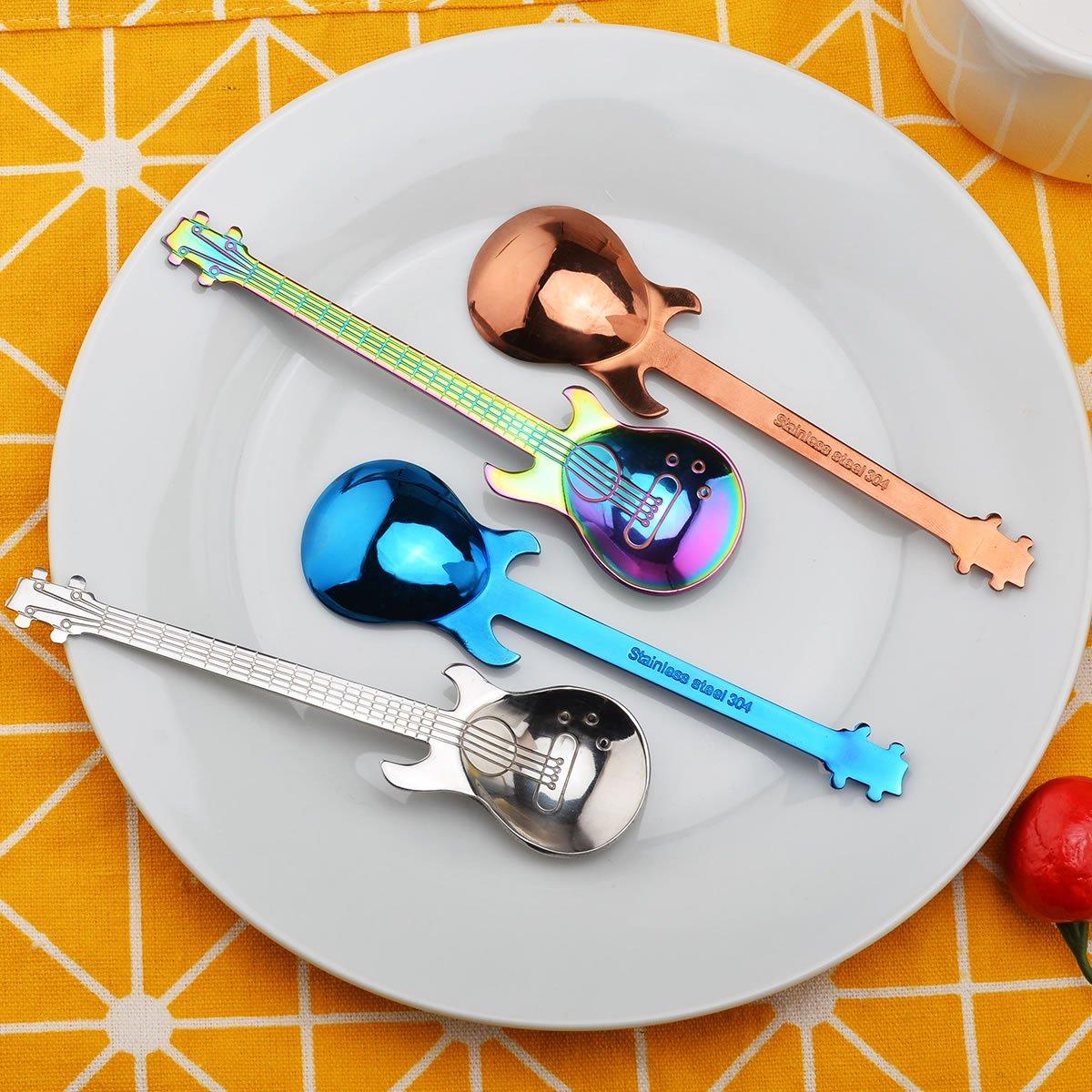 Oumosi Guitar Shaped Stainless steel Coffee Spoon Demitasse spoons dessert spoons Sugar Spoon Kitchen Cute Utensil Pack of 4