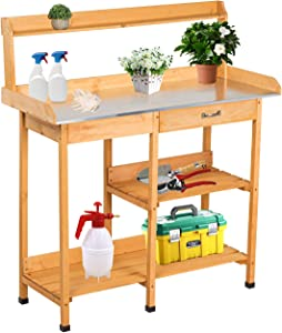 Kinbor Potting Bench Outdoor Garden Work Bench Station Wood Raised Planting Tables for Outside with Drawer and Storage Shelf