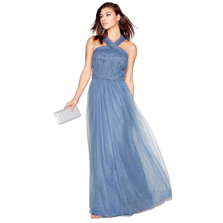 Chi Chi London Womens Blue Organza \'Alessia\' Sleeveless Tie Neck ...