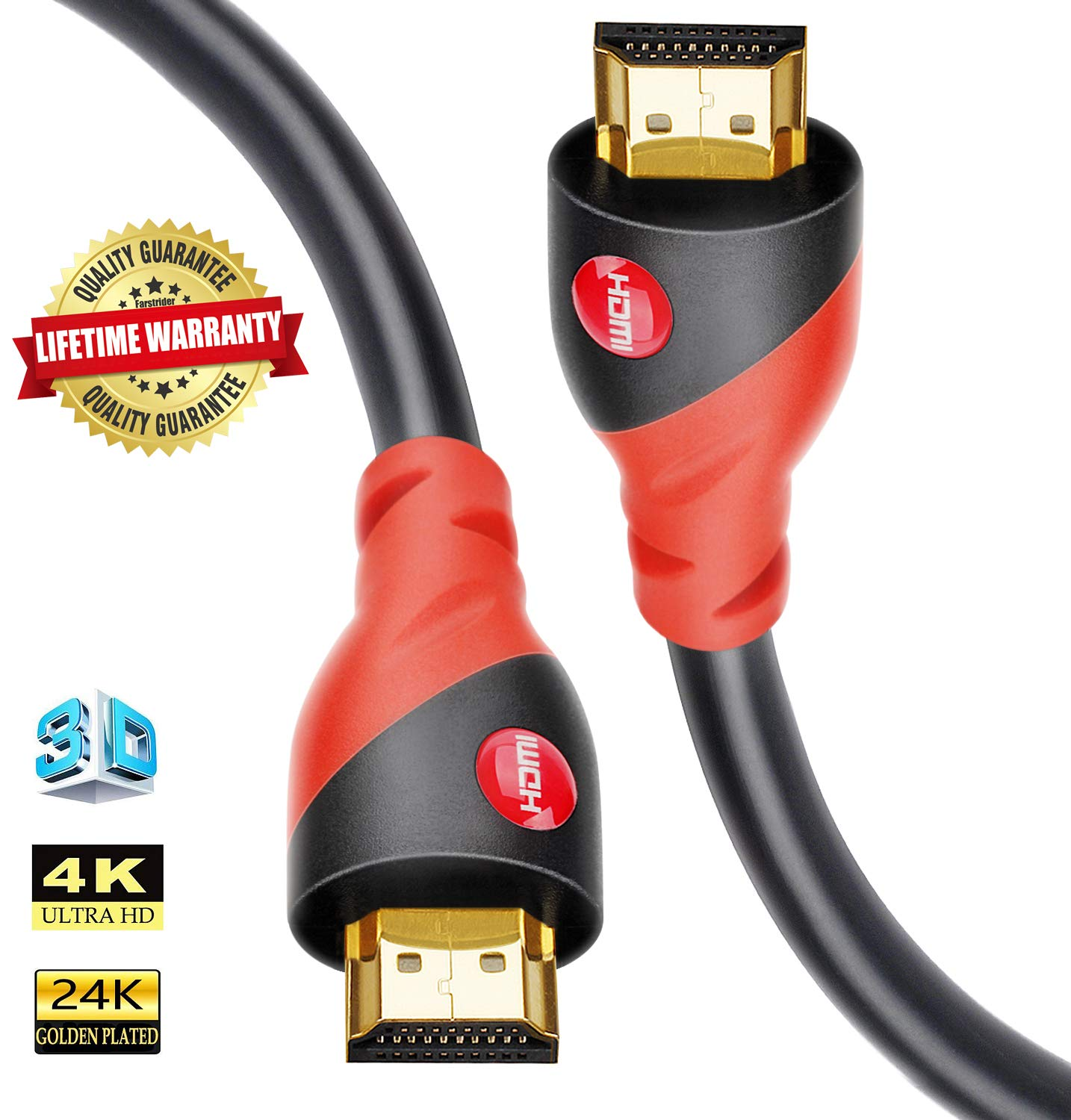 HDMI Cable 4K / HDMI Cord 33ft - Ultra HD 4K Ready HDMI 2.0 (4K@60Hz 4:4:4) - High Speed 18Gbps - 26AWG Cord-Ethernet /3D / ARC/CEC/HDCP 2.2 / CL3 by Farstrider by Farstrider