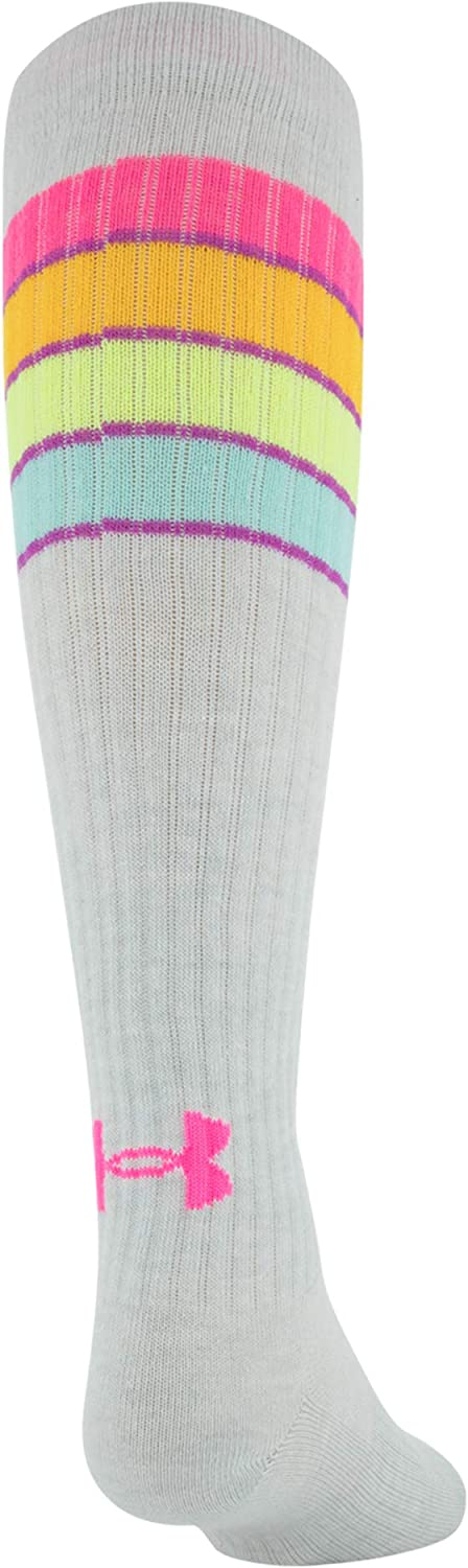 Under Armour Youth Knee High Over The Calf Socks, 2-Pairs, Mojo Pink/Assorted, Shoe Size: Youth 13.5K-4Y : Clothing