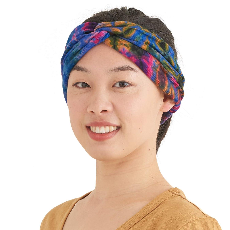 Fashion Turban Headwrap Hippy Yoga Hairband Twist Knot Festival Hair Band E CHARM Womens Tie Dye Headband