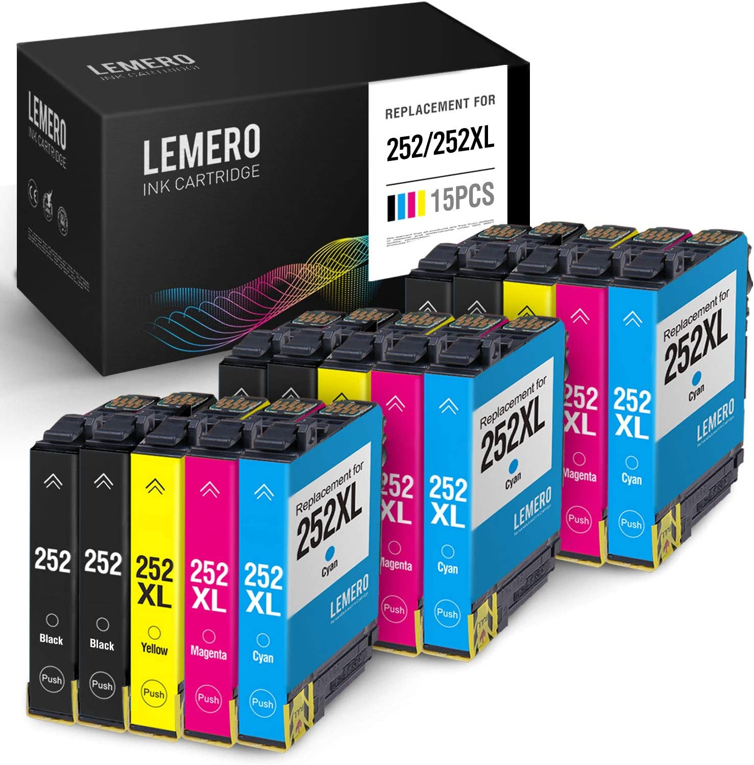 LEMERO Remanufactured Ink Cartridges Replacement for Epson 252 252XL 252 XL T252XL- for Epson Workforce WF-7710 WF-7720 WF-3640 WF-3620 WF-7620 WF-7110 WF-7610 (Black Cyan Magenta Yellow, 15 Pack)