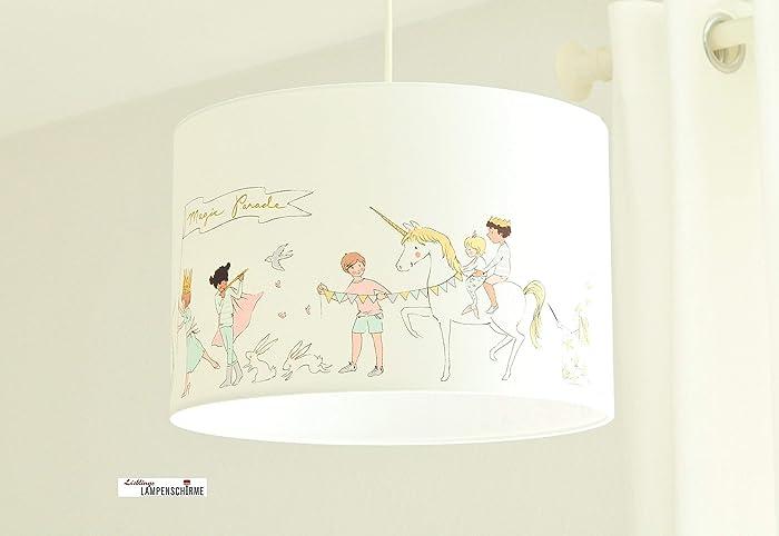Lampe fürs Kinderzimmer und Babys mit Einhörnern und Drachen in Weiß ...