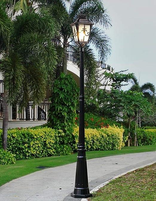 Cristal Europeo Villa Alta Polo paisaje decor accesorio Jardín High Light Linterna Farola victoriano impermeable al aire libre Columna Lámpara pie Lámpara Linterna Villa Park luz lámpara E27 carretera: Amazon.es: Hogar