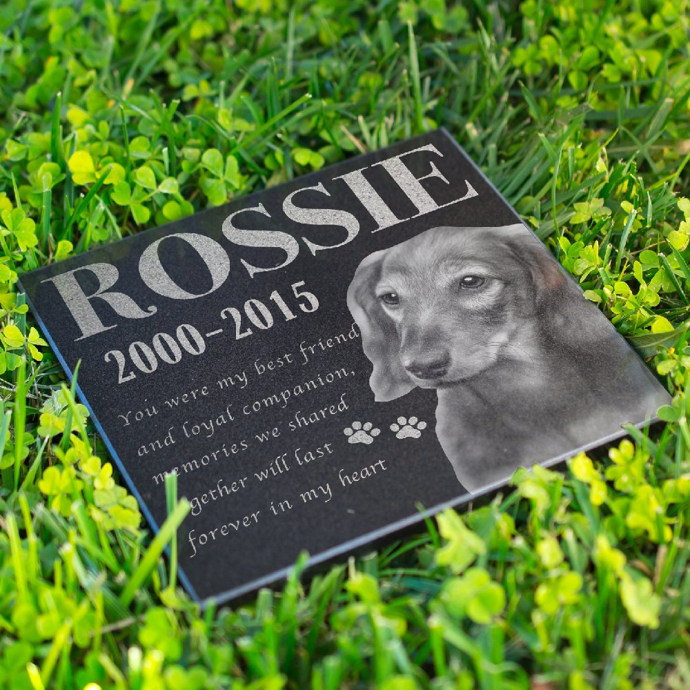 Lara Laser Works Personalized Dog Memorial with Photo Free Engraving MDL2 Customized Grave Marker | 12x12