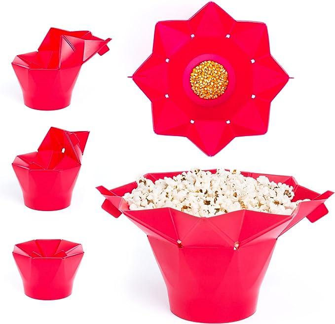 Palomitero microondas silicona | Palomitas de maíz en microondas | Cubo de silicona para palomitas | Palomitero de silicona para microondas | Palomitas microondas silicona de color rojo: Amazon.es: Hogar
