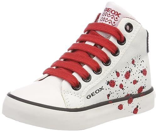 Geox Jr Ciak F, Zapatillas Altas para Niñas, Blanco (White/Red), 24 EU