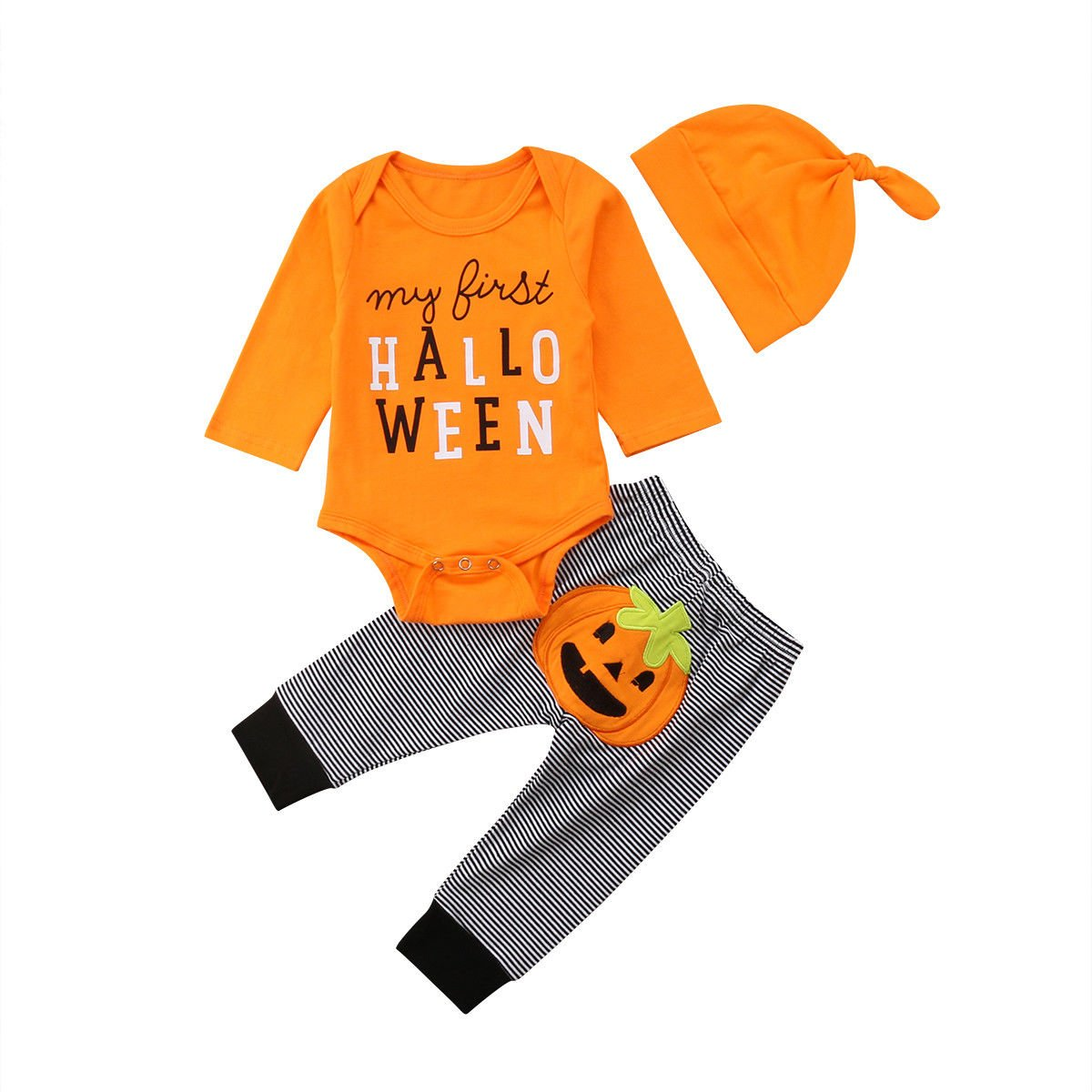 adf06f437 【Cute Style】: My First Halloween Print Jumpsuit and Pumpkin Stripe Long  Pants with Hat 【Feature】:Collar:O-collar Sleeve Length:Long Sleeve