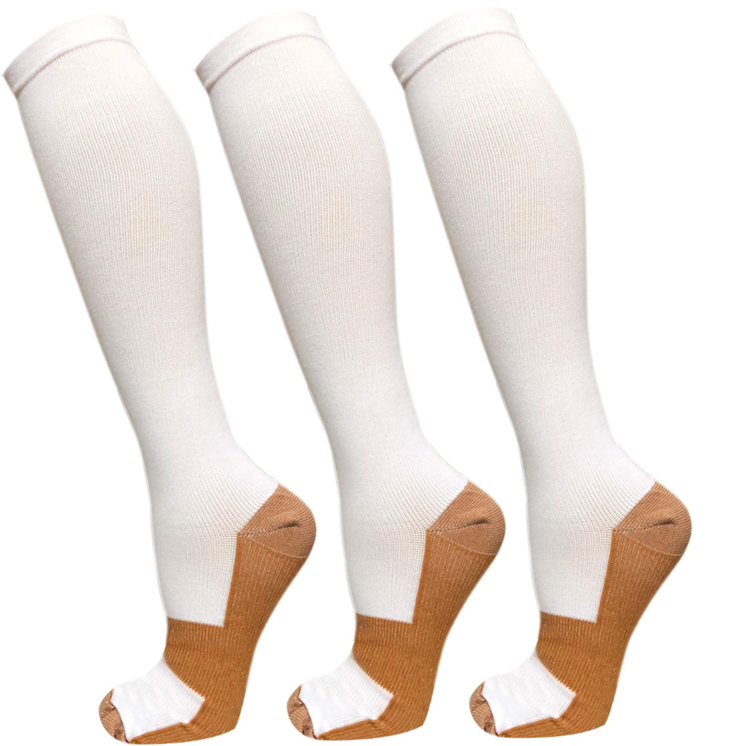 Copper Compression Socks For Men & Women-3/5 Pairs-Best For Running,Athletic,Medical,Pregnancy and Travel -15-20mmHg