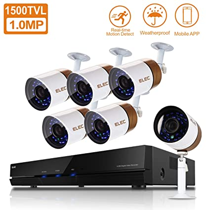 elec 8ch channel hdmi dvr cctv home video security system with 6 outdoor indoor 1500tvl - Home Video Security Systems
