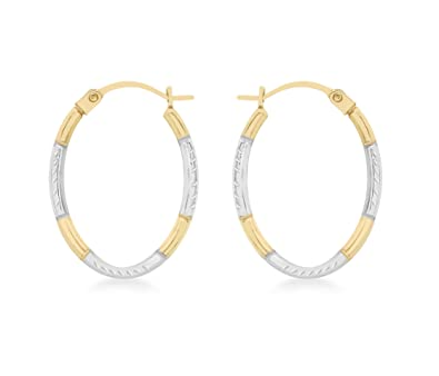 Carissima Gold Women's 9 ct White Gold Two Colour Gold Diamond Cut Creole Earrings mqjYf80tM