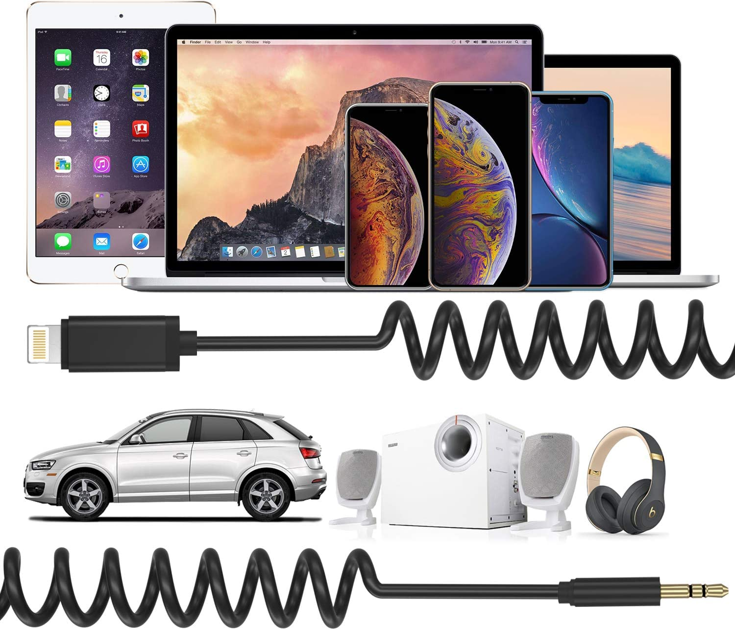 for iPhone 8//8 Plus Dreamvasion Spring Coiled Stereo Audio Cable with Male 3.5mm Headphone Jack Adapter Extend to 5ft iPhone X iPhone 8 iPhone X Aux Cord iPhone 7//7 Plus