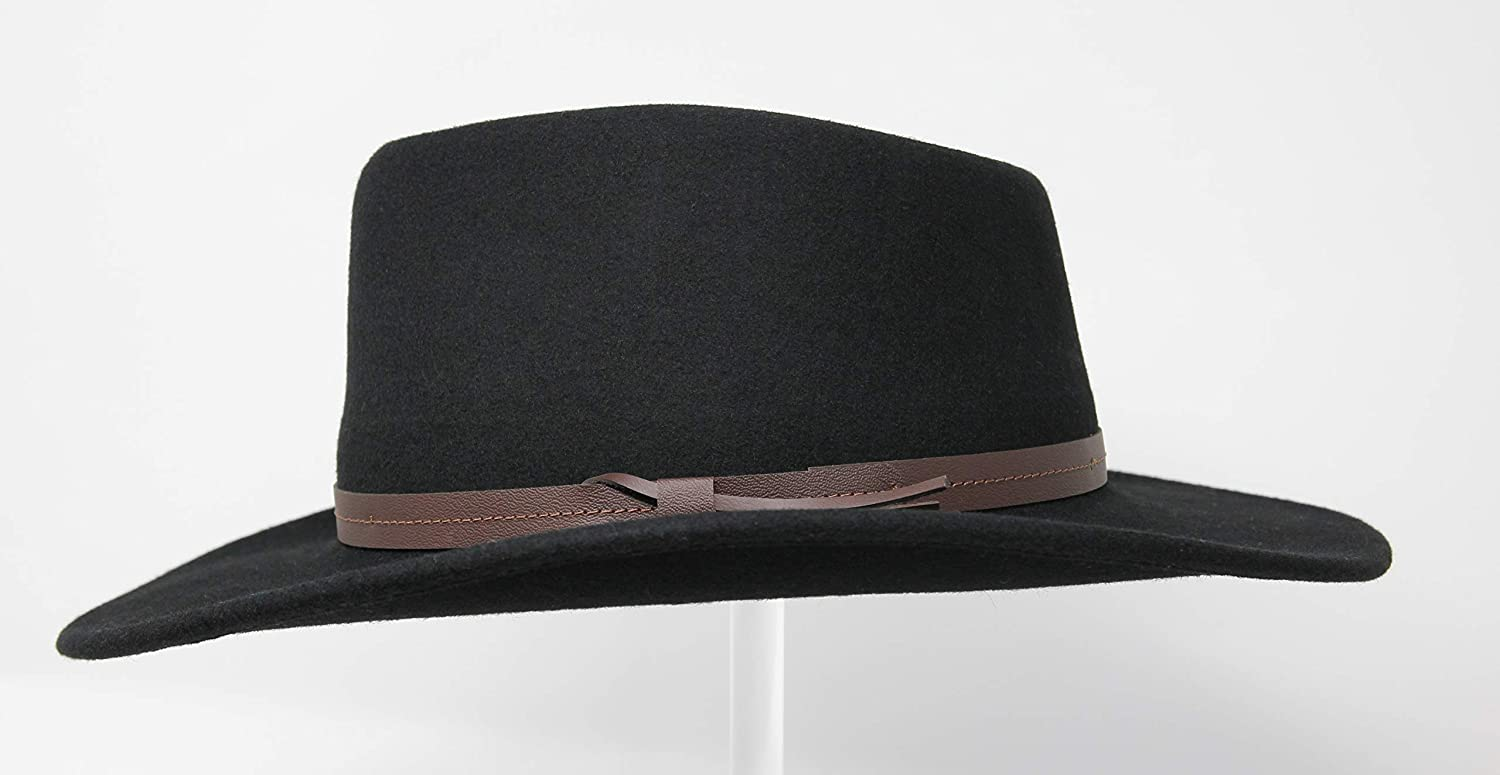 Borges /& Scott Hardy Lightweight Wide Brim Fedora Water Resistant Leather Band Crushable for Travel 100/% Wool Felt