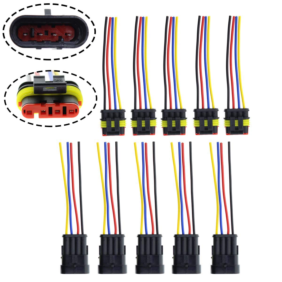 MOTOALL 5 Sets 4 Pin Way 18AWG Waterproof Weatherpack Electrical Connector Kit Male & Female Socket Plug Pigtail Harness Lead Wiring Loom 1.5mm Series Terminal & Rubber Seal with 10cm Wire