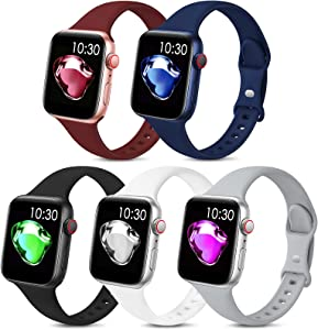 5 Pack Sport Slim Bands Compatible with Apple Watch Bands 38mm 40mm 42mm 44mm Women Men,Thin Silicone Soft Replacement Strap Wristband for iWatch Series 6 5 4 3 2 1 SE(38MM/40MM,Color2)