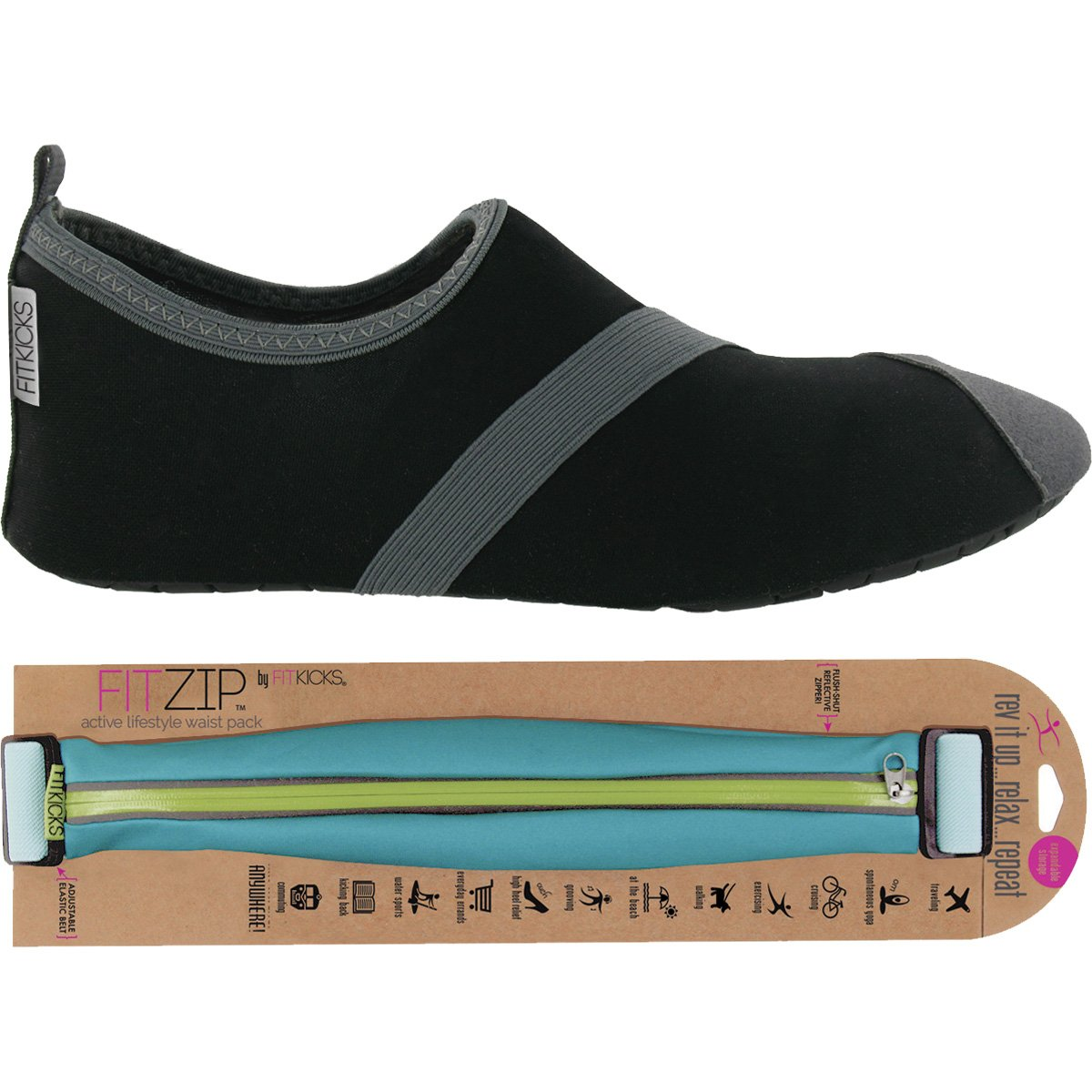 FITKICKS Womens Shoes with FITZIP Waist Pack, Black/Grey Shoe (Large (8.5-9.5), Turquoise)