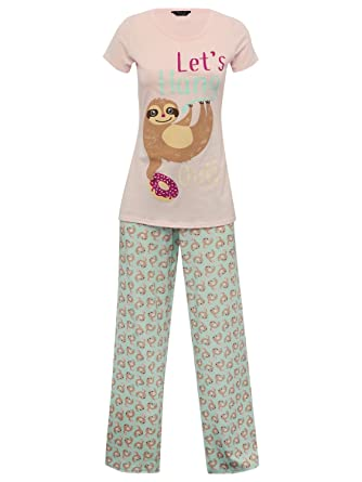M Co Teen Girl Cotton Rich Short Sleeve Sloth Slogan Print Pink T-Shirt    Printed 7e1de2824