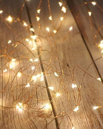 Litogo Guirnalda Luces Pilas Luces Led Pilas Luces Led Habitacion 5m 50 Led Luces De Cadena Micro Con Pilas De Alambre Guirnaldas Decoracion Cobre Para Decoración Interior Bodas Fiesta De Navidad