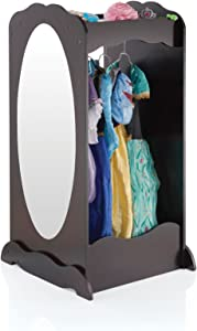 Guidecraft Dress Up Cubby Center – Espresso: Toddler's Dresser, Wooden Armoire with Mirror, Clothing Rack & Side Hooks - Toy Storage and Costumes Organizer for Kids