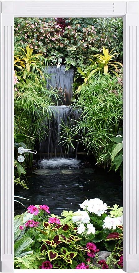 Creativo Etiqueta De La Puerta En 3D Fuente De Jardín Etiqueta De La Pared Cubierta De