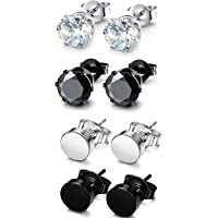 Sailimue 4 Pairs Stainless Steel Stud Earrings for Men Women Round CZ Earrings,Black and White 3-8mm
