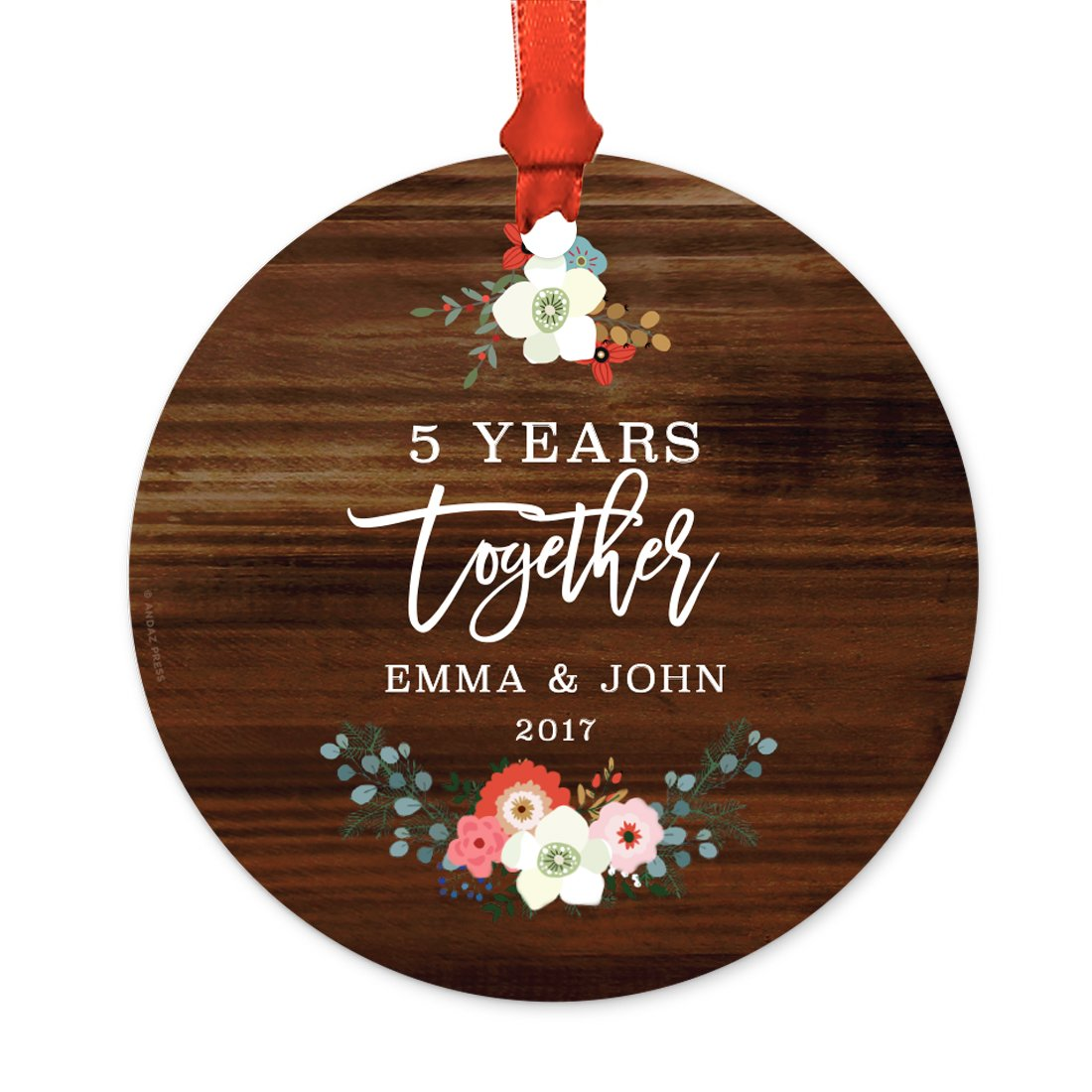 Andaz Press Personalized Wedding Anniversary Metal Christmas Ornament, 5 Years Together, Emma & John 2018, Rustic Wood Florals, 1-Pack, Includes Ribbon and Gift Bag, Custom Name