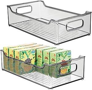 "mDesign Wide Stackable Plastic Kitchen Pantry Cabinet, Refrigerator or Freezer Food Storage Bin with Handles - Organizer for Fruit, Yogurt, Snacks, Pasta - BPA Free, 14.5"" Long, 2 Pack - Smoke Gray"