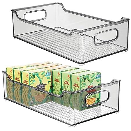mDesign Juego de 2 fiambreras para la cocina - Cajas de plástico ...