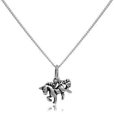 Sterling Silver Realistic Unicorn Pendant Necklace NsIAAhukg