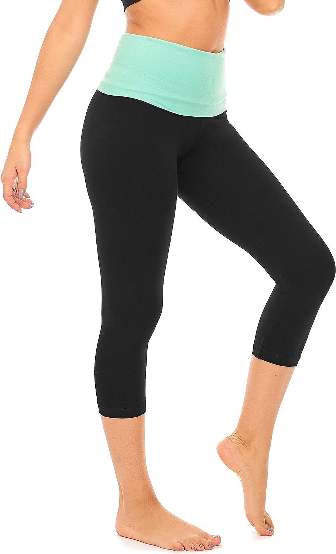 C7 F DEAR SPARKLE Fold Over Yoga Pants for Women Cotton Leggings Foldover High Waist Leggings Capri Plus Size