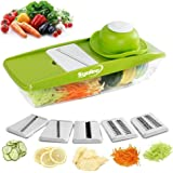 Syolee Mandolin Vegetable Slicer - 9 in 1 Multi-function Food Slicer Julienne and Fruit Cutter - with 5 Interchangeable Sharp Blades, Safety Hand guard, Butting Board, Blades box and Easy Food Container
