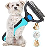 Dematting Comb Double Sided Pet Grooming Tools Dog Deshedding Brush Stainless Steel Pets Undercoat Rake for Long Short Hair Cats Dogs