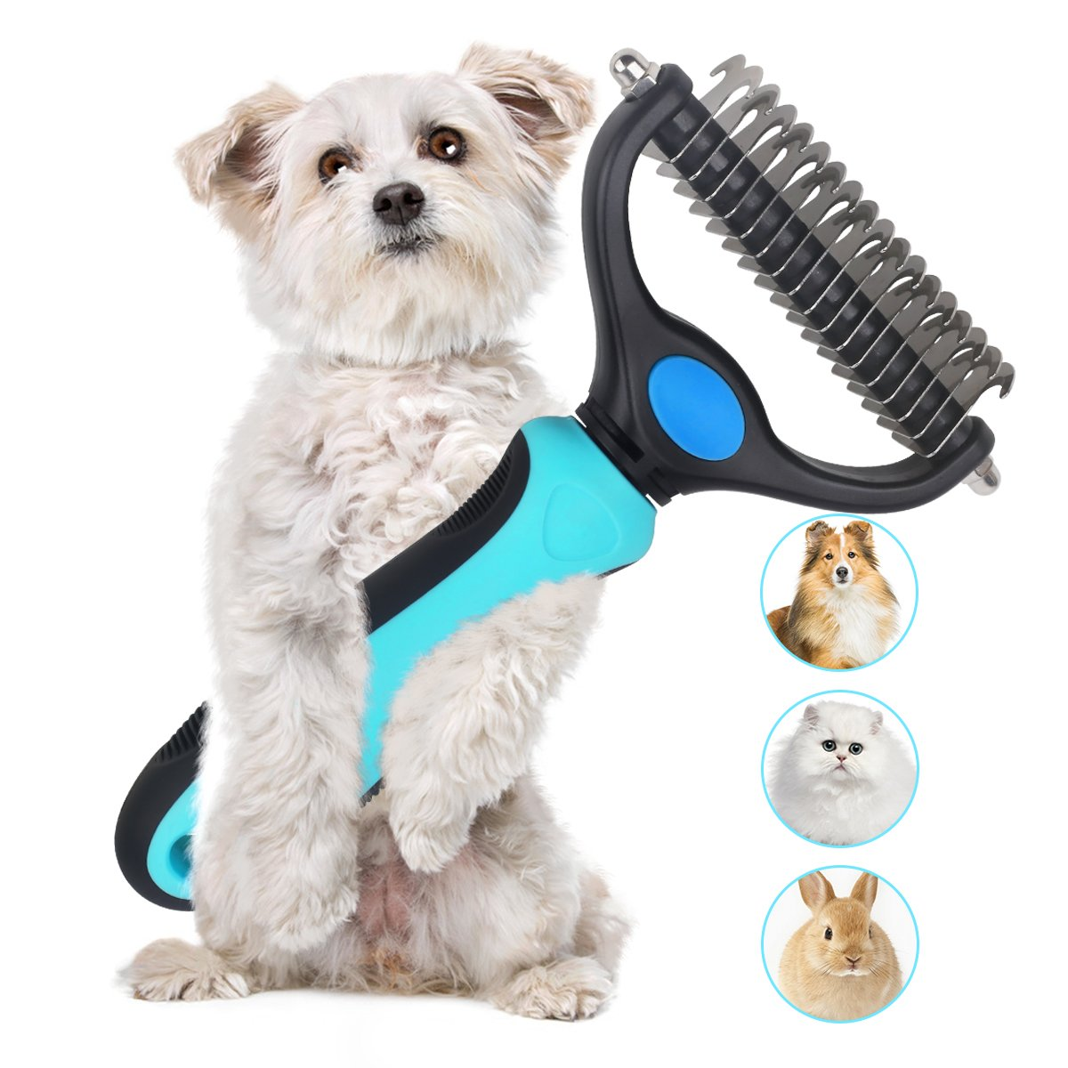 Dematting Comb Double Sided Pet Grooming Tools Dog Deshedding Brush Stainless Steel Pets Undercoat Rake for Long Short Hair Cats Dogs by PetGuard (Image #1)