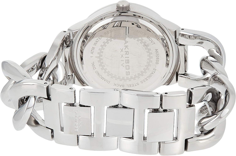 Akribos XXIV Women's Impeccable Diamond Watch - 23 Genuine Diamond Hour Markers Swiss Quartz Watch On a Twist Chain Bracelet - AK608 Stainless Steel