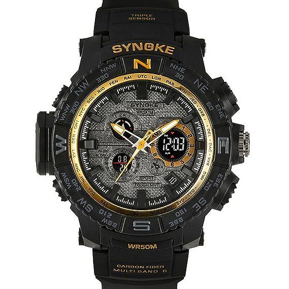 modiwen 50 M resistente al agua Digital electrónico reloj con correa de PU Calendario Militar deporte relojes de pulsera., color dorado: Amazon.es: Relojes