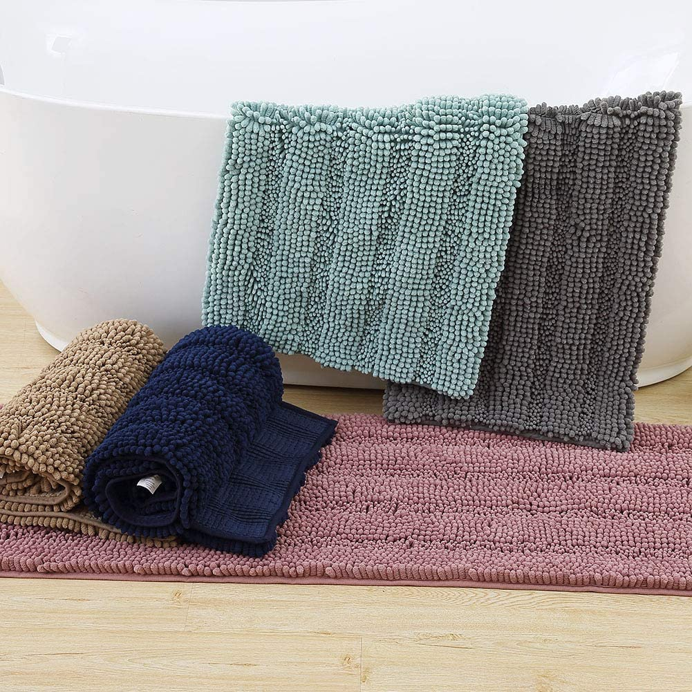 "Non-Slip Bath Mat, Chenille Luxury Striped Bathroom Rug Shower Mat Ultra Thick Soft Water Absorbent Door Carpet for Bathroom Kitchen Entryway, Grey - 31"" x 20"""