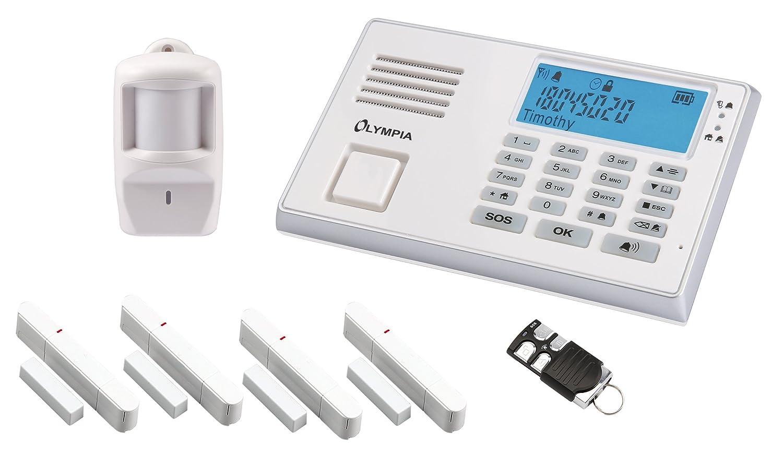 OLYMPIA Drahtloses GSM-Alarmanlagen-Set mit Notruf und Freisprechfunktion, weiß, Modell Protect 9066
