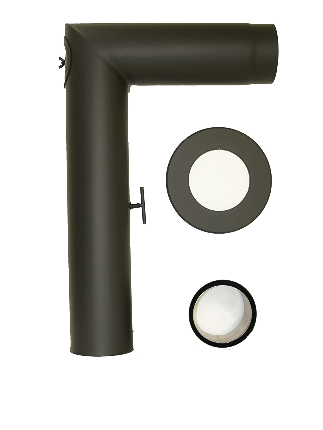 Lanzzas Stove Pipe Chimney Pipe Pipe Set 3Pieces with Damper Flap 90° Steel 2mm Diameter 130mm Black