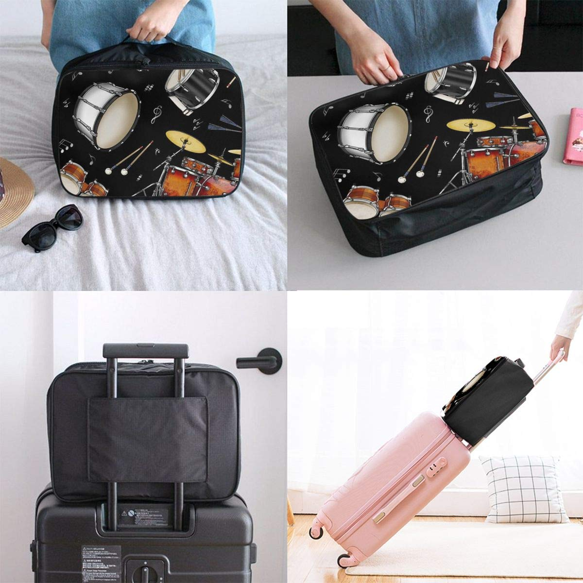 Rock Drum Stand Travel Duffel Bag Casual Large Capacity Portable Luggage Bag Suitcase Storage Bag Luggage Packing Tote Bag Weekend Trip