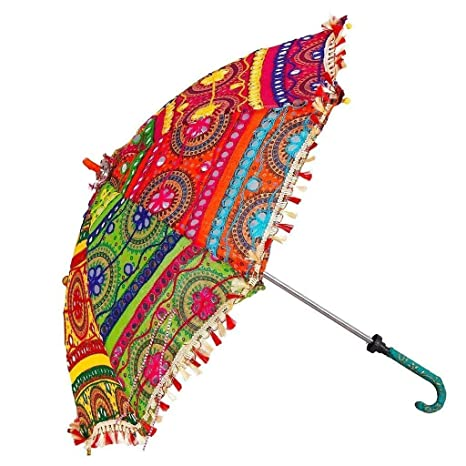 Riddhi Siddhi Crafts  amp; Creations Fabric Embroidered Rajasthani Umbrella  Multicolours