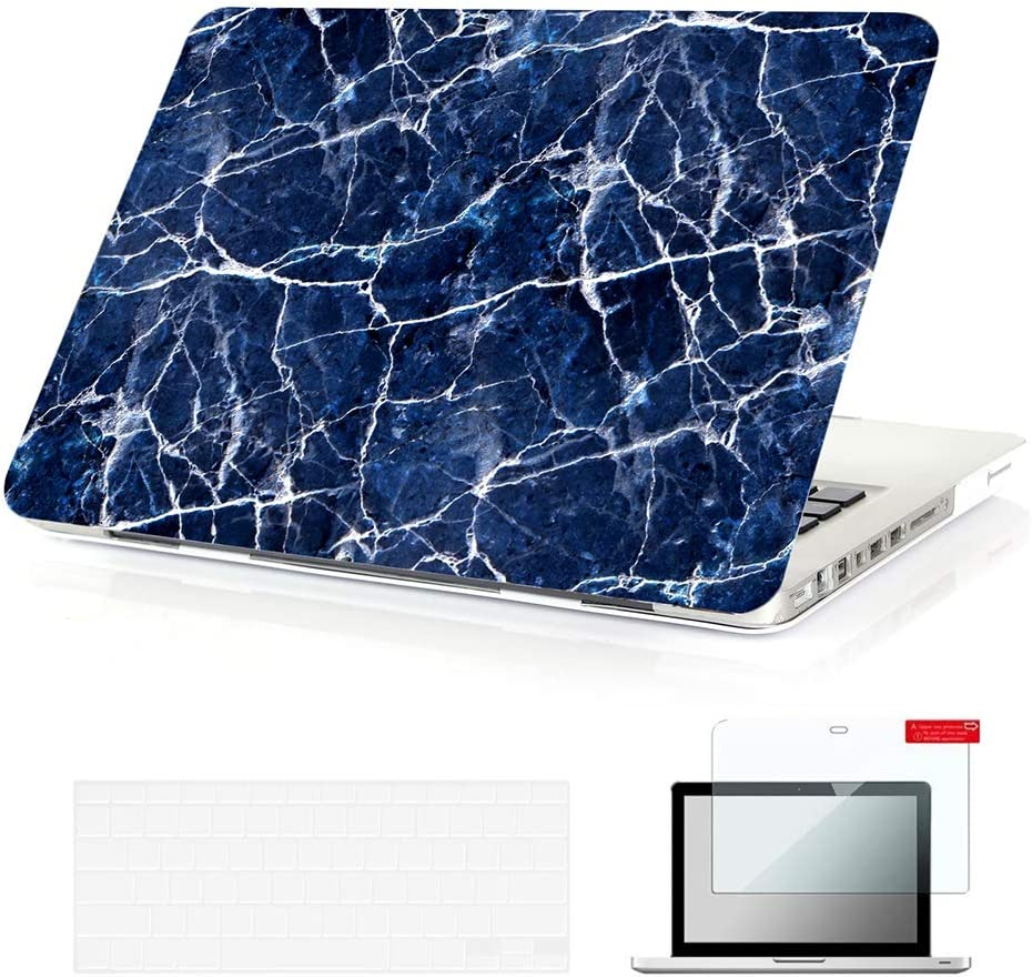 Se7enline Old MacBook Pro Case 13 Inch A1278 Case with CD-ROM Marble Laptop Hard Cover for MacBook Pro 13.3 2009-2012 with TPU Keyboard Cover,Screen Protector, Navy Blue Marble Pattern