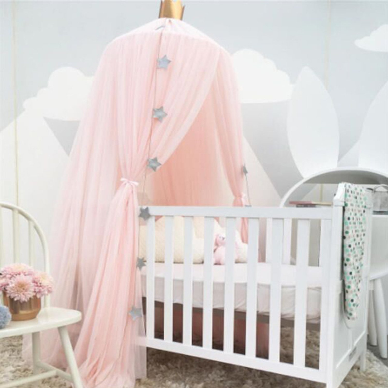 Yimii Round Dome Princess Bed Canopy, Bed Curtains Mosquito Net for Kids Baby, Pink Canopy for Girls Room Playing.