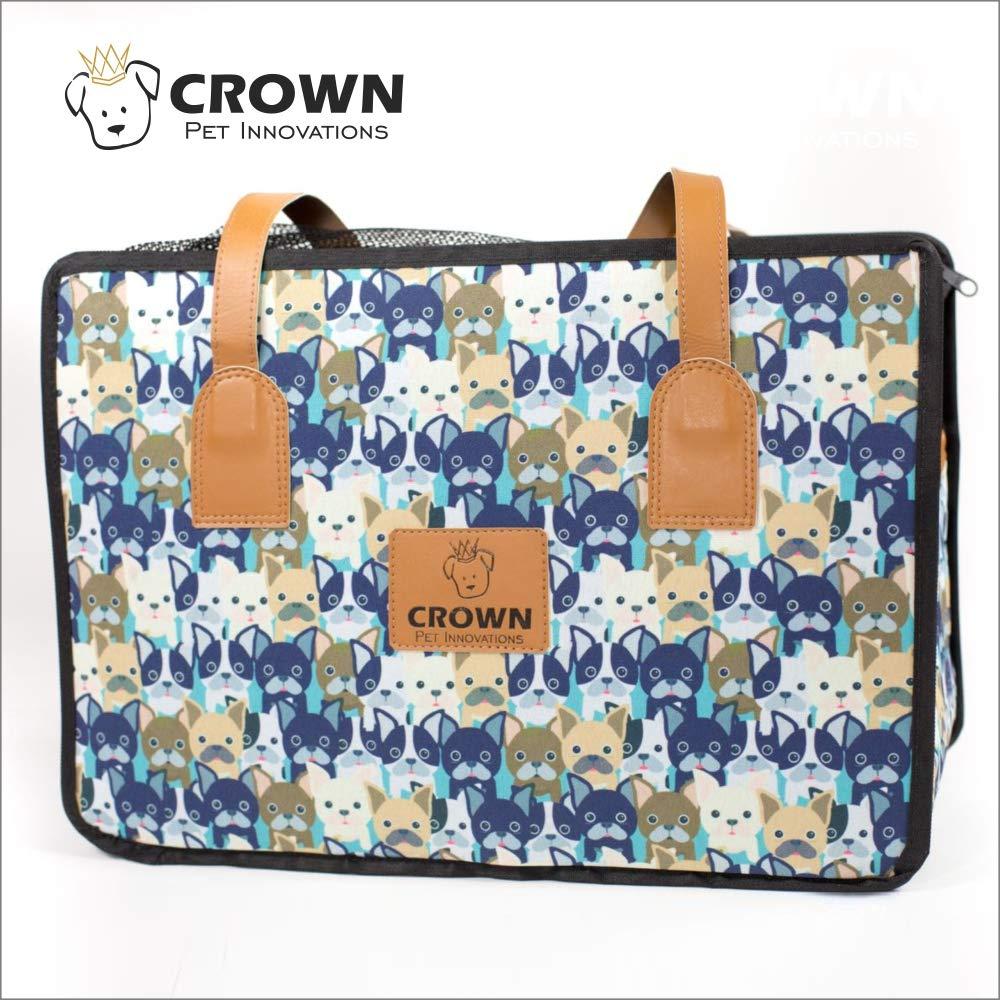 "Crown Pet Innovations   Dog Carrier Purse   Travel Dog Carrier Handbag    Designer Pattern   Medium 16""L x 8""WX 11""H   Blue"