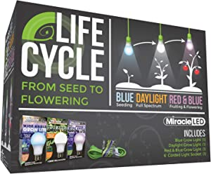 Miracle LED Plant Life Cycle LED Grow Light Kit with 3 Bulbs for Three Stages of Growing