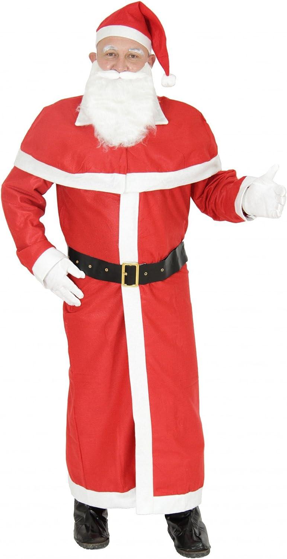 Foxxeo 6-teiliges Premium Weihnachtsmann Kostüm mit Mantel für XXXL//XXXXL