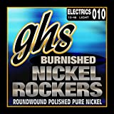 GHS Strings BNR-L Burnished Nickel Rockers, Polished Pure Nickel Electric Guitar Strings, Light (.010-.046)