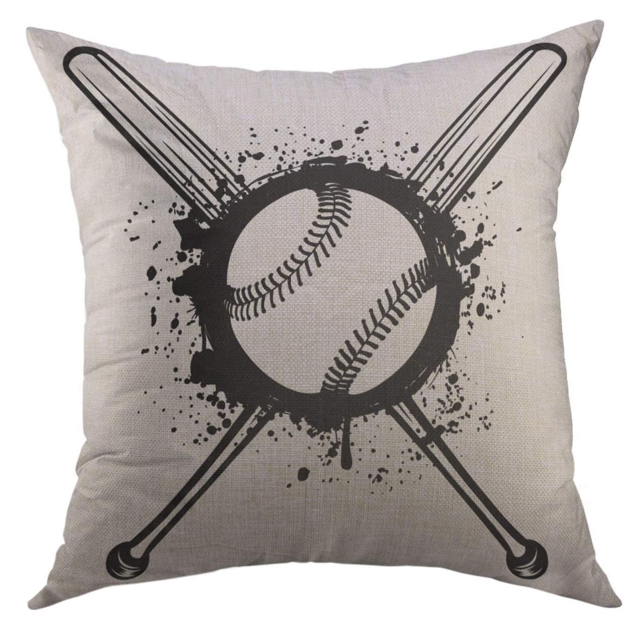 Amazon.com: Mugod Funda de almohada softball cruzado bates ...