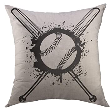 Amazon.com: Mugod Funda de almohada softball cruzado bates ...
